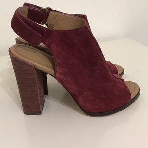 Beautiful suede peep toe block heels